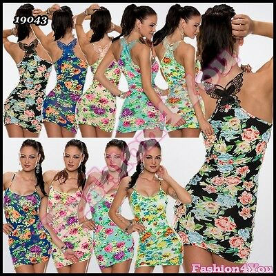 Womens Floral Mini Dress Summer Holiday Beach Casual Dress One Size 6,8,10,12 UK