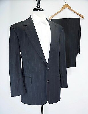 Brooks Brothers Navy Blue Pinstripe 2 Btn Wool Suit Made in USA 44R 38W 33L