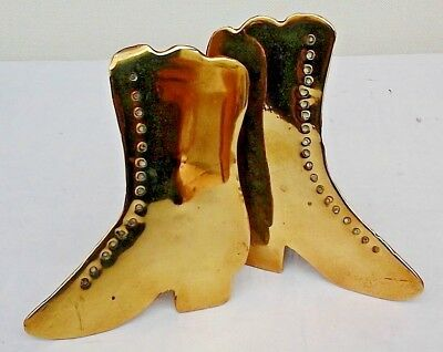 Pair of Vintage Brass Victorian Style Ladies Boots. Shop Display.