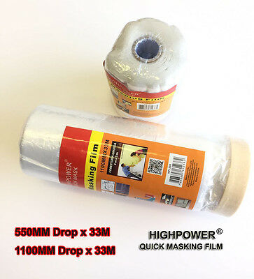 Masking Tape Poly Film Painting Cover Sheet Pull Down 33m Roll Smart Repair