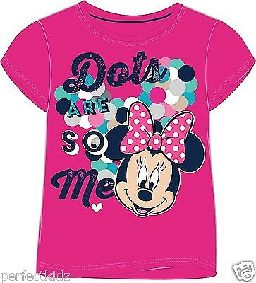 Girls Kids Official Disney Minnie Mouse Cartoon Character T-Shirt Top Cotton New