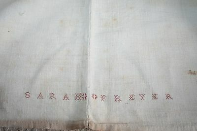 Antique hemp, linen, homespun sheet with monogramed name