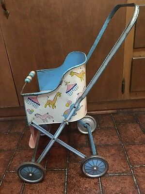 Antique Vintage Metal Tin Circus Design Baby Doll Children's Play Stroller!