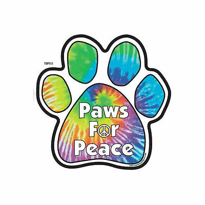 Paws For Peace Tie Dye Dog Paw Car Magnet