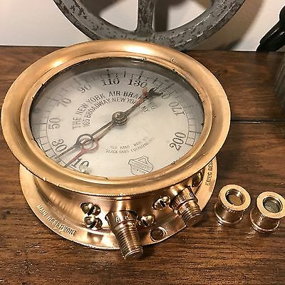 ^RARE^ Ashcroft Dual Pressure New York Air Brake Locomotive Rail Engine Gauge