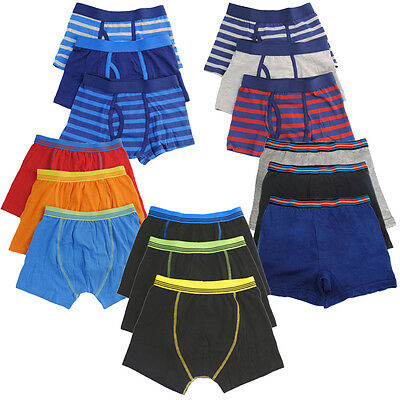 Boys Kids Trunks Boxer Shorts Keyhole Cotton Elasticated Waist Underwear 3 OR 6