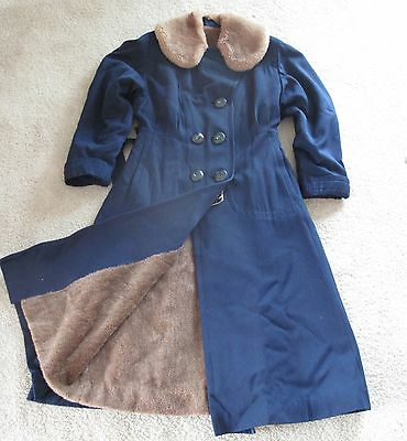 Womens Vintage Navy Blue Wool Winter Coat Small 1940s Alpaca Lined