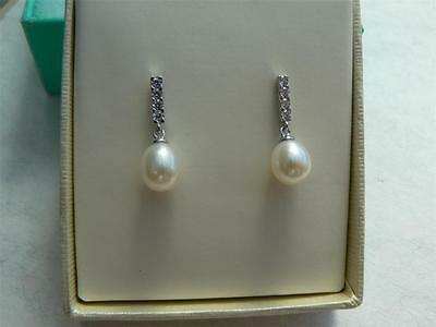 Art Deco style sterling silver pearl drop dangle stud earrings with CZ stones