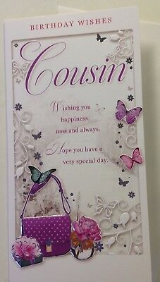 Embossed Female Cousin Birthday Card With Handbags And Butterflies