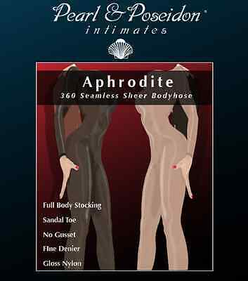 Aphrodite - 360 Seamless sheer nylon long sleeve body stocking, body hose sex