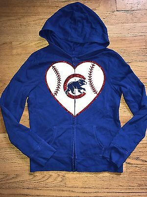 Justice Girls Chicago Cubs Zipper Hoodie Sweater Blue Size 12 Fifth 5th & Ocean