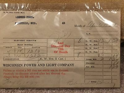 Vintage 1927: Wisconsin Power And Light Company Paper Bill. Montello, Wisconsin