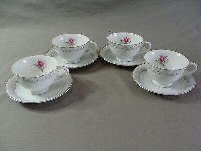 4 Royal Swirl Fine China Of Japan Cups & 4 Saucers In The Pink Rose Pattern
