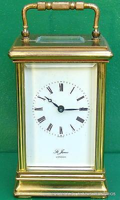 St James Vintage English 8 Day Timepiece Brass Carriage Clock Serviced