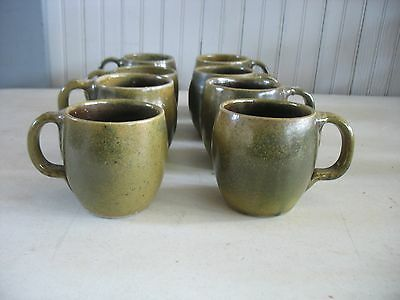 S/ 8 Signed Jugtown Ware North Carolina Pottery Mugs Dark Frogskin Glaze