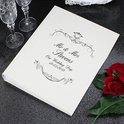 Personalised Wedding Mr and Mrs With Sleeves Beautiful Ornate Swirl Photo Album