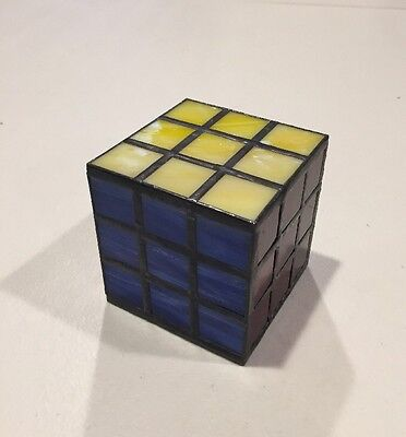 """Stained/Leaded Glass Rubik's Cube - unique, handmade, paperweight 3"""""""
