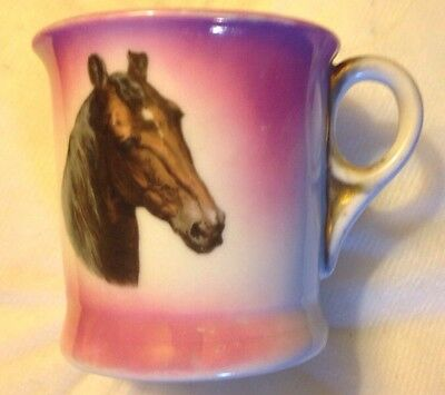 "Horse Germany Mug Old  Pony Horses Head Pink & Gold  3 1/2"" Tall Cup"