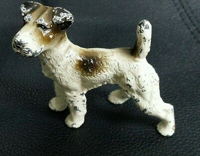 "Vintage ? Hubley??  3"" Fox Terrier Cast  Iron Dog  Paperweight Miniature"