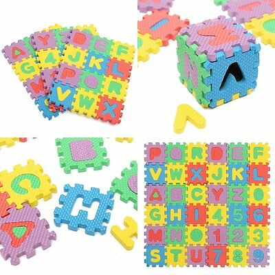 36PCs Baby Kids Alphabet Number Foam Crawl Playing Floor Mat Jigsaw Puzzle Tile