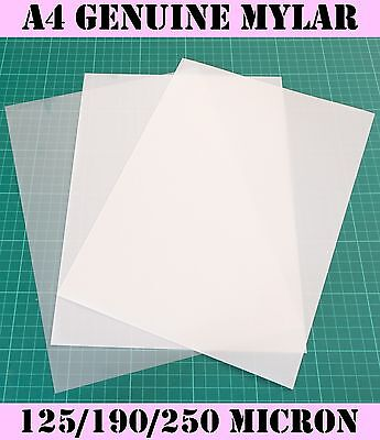 GENUINE MYLAR A4 Blank Stencil sheets 125/190/250 Micron Laser Safe Reusable
