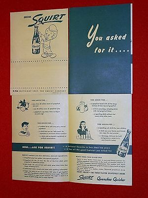 3 Advertising booklets copyright 1947 drinks Squirt new old stock