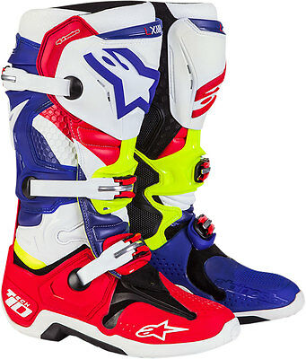 Alpinestars Limited Edition NATIONS Tech 10 Boots (Blue Red Wht Yllw)