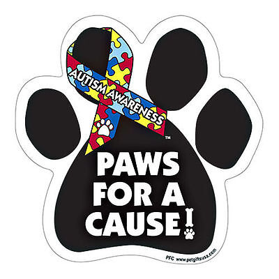 Bark For A Cure Autism Awareness Dog Paw Car Magnet