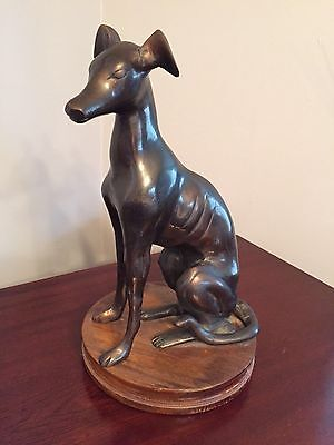 Bronze Greyhound Whippet Dog Sculpture Statue Sitting on Wood Base