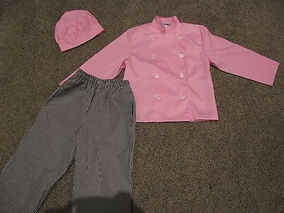 *REAL* child chef outfit pink jacket, pink hat, pants NEW costume SMALL CHILD