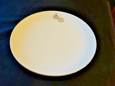 Hall Pottery Ivory and Gold RX Pharmacy Emblem 10 inchDinner Plate