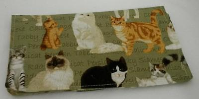 Cat Breeds Print Fabric Checkbook Cover Document Coupon Holder Ready-Made