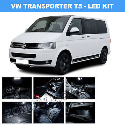 Volkswagen VW Transporter T5 WHITE INTERIOR LIGHTS Upgrade LED Bulb Kit