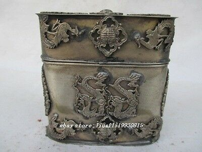 The ancient Chinese old Tibet Tibet silver dragon toothpick box
