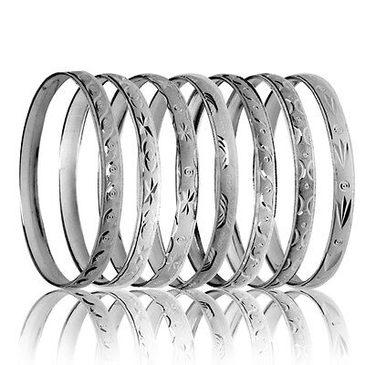 10-13 Years Girls Teenager White Gold Layered Silver Bangle Silver - Size 5