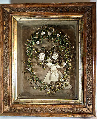 RARE Antique Victorian Bridal Headpiece Framed Wedding Shadow Box 1800s Original
