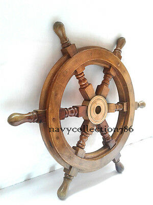 "12"" Inch Ships Wheel Wood/brass Wooden Pirate Captain Nautical Maritime Decor"