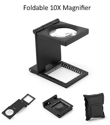 10x Pocket Standing Foldable Magnifying Glass Illuminating Sewing Magnifier AM