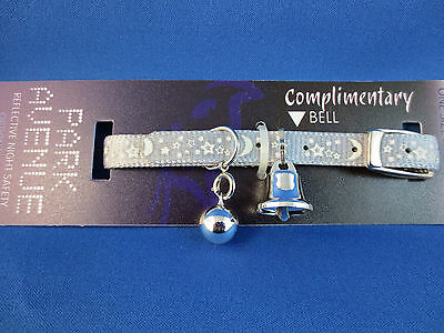 Cat Collar - Reflective - Park Avenue Stars - Silver with Safety Elastic