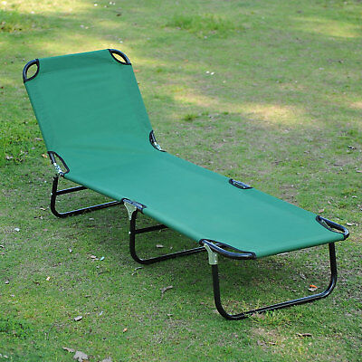 Outsunny Beach Lounger Chair Garden Sun Bed Foladable Garden Headrest Seat