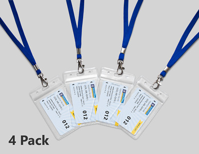 4 Clear Royal Caribbean Cruise Lines I.D. Holders & Lanyards NEW AND REUSABLE