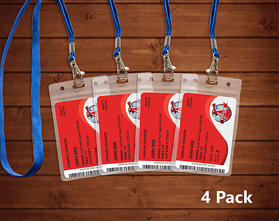 4 Transparent Carnival Cruise Lines I.D. Holders & Lanyards NEW AND REUSABLE