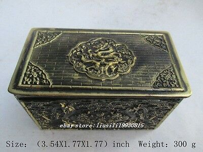 The ancient Chinese bronze dragon and phoenix. Jewelry box NR
