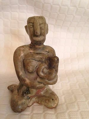 Antique Southeast Asian Thai Celadon Pottery Mother And Child 3 1/2''
