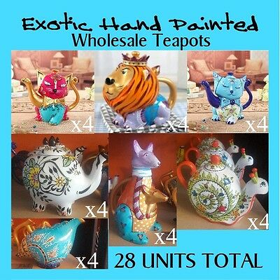 Wholesale Lot 4x7 types (28) Exotic Hand Painted Teapots for Retail FREE POST