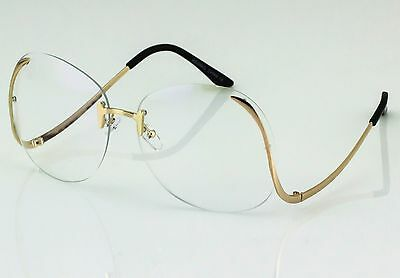 OVERSIZED Rimless VINTAGE Style Clear Lens SUNGLASSES Upside Down Gold Frame