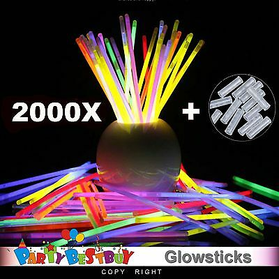 2000 mixed Color Glow Sticks Light Bracelets Disco Party Bulk Glow in the dark d