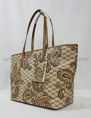 8502f840f3dcf3 NWT Michael Kors Studio Paisley EMRY Large Top Zip Tote in Luggage Brown