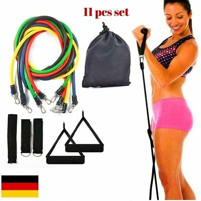11tlg. Expander-Set Fitness Tube Gymnastikband Yoga Latex Band Fitnessbänder  MY