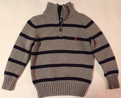 Polo RALPH LAUREN Baby/Toddler Boys 1/4 Zip Knitted Cotton Sweater Pullover Grey